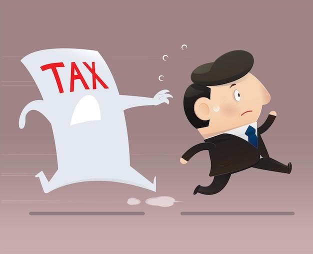 Geschäftsmann, der vor der steuer davonläuft. cartoon-mann vermeidet steuern