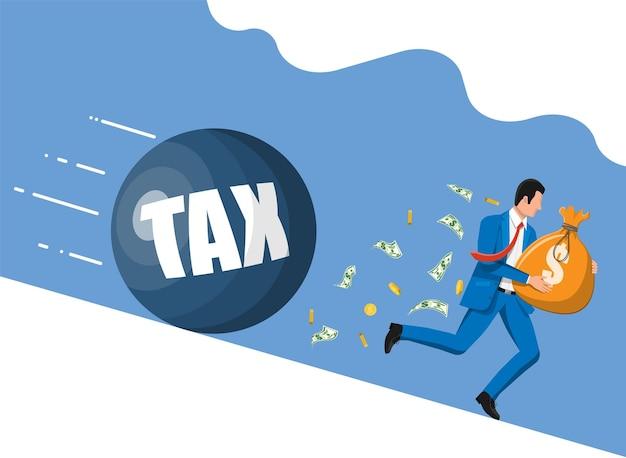Geschäftsmann, der vor riesigem steuergewicht wegläuft. geschäftsmann mit geldsack und abrissbirne.