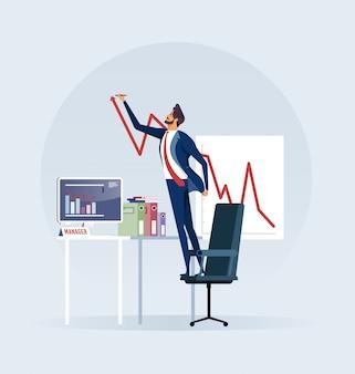 Geschäftsmann, der wachsende aktienkurve schafft