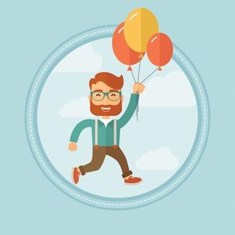 Geschäftsmann, der weg auf bündel ballonen fliegt.