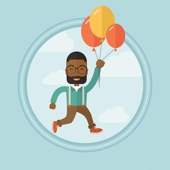 Geschäftsmann, der weg auf bündel ballonen fliegt