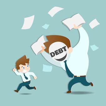 Geschäftsmann, der weg von den enormen schulden läuft.