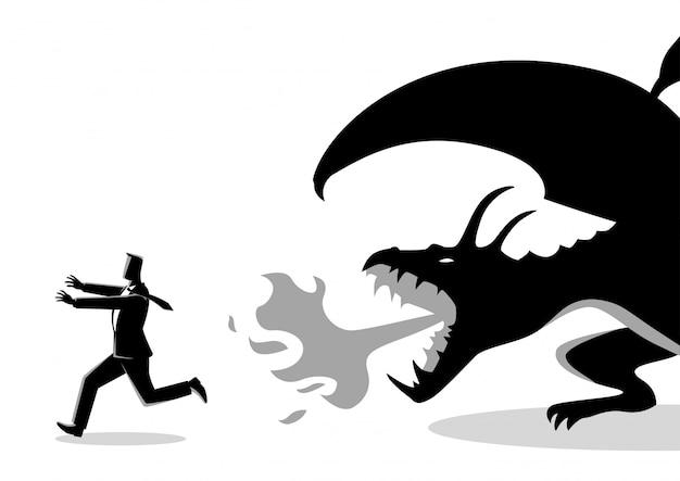 Geschäftsmann, der weg von einem drachen läuft
