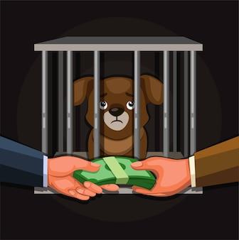 Geschäftsmann, der welpen verkauft. illustrationskonzept der illegalen aktivität des wildtierhandels im karikaturvektor