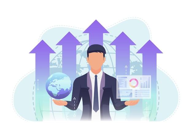Geschäftsmann, der welt- und geschäftsdiagramm mit wachstum-diagramm-hintergrund hält. globales geschäftskonzept.