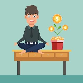 Geschäftsmann, der yoga auf bürotisch mit geldbaum tut