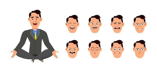 Geschäftsmann, der yoga tut oder meditation entspannt. geschäftsmann charakter mit unterschiedlichem gesichtsausdruck