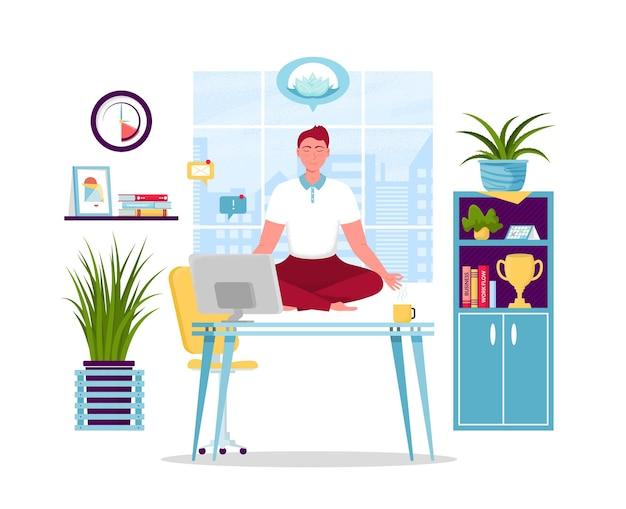 Geschäftsmann, der yogaillustration tut Premium Vektoren