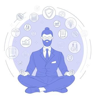 Geschäftsmann, der zen yoga meditation mit büroelementen praktiziert