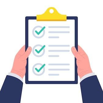 Geschäftsmann, der zwischenablage mit checkliste hält. konzept der umfrage, des quiz, der aufgabenliste oder der vereinbarung. illustration.