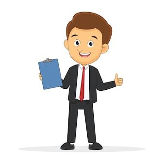Geschäftsmann, der zwischenablage mit weißem leerem blatt papier hält