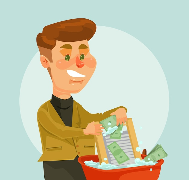 Geschäftsmann dieb charakter geld waschen.