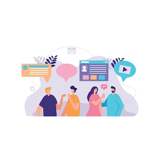 Geschäftsmann diskussion soziale illustration