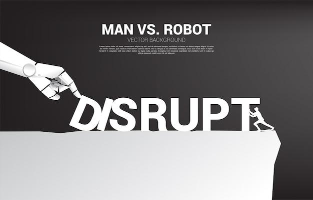 Geschäftsmann drücken den domino, um mit der roboterhand zu kämpfen. geschäftskonzept der unterbrechung der ki, um den dominoeffekt zu machen.