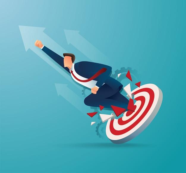 Geschäftsmann durchbruch das ziel bogenschießen zu erfolgreicher vektor-illustration