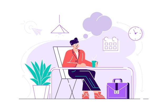 Geschäftsmann entspannt sich und träumt von etwas an seinem arbeitsplatz. modernes bürointerieur. geschäftskonzept. flache artentwurfsillustration für webseite, karten, plakat, soziale medien.