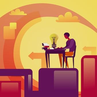 Geschäftsmann-entwicklungs-neues ideen-konzept-geschäftsmann sit at table mit der glühlampe-brainstorming