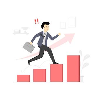 Geschäftsmann erhöhen anstrengungen für den erfolg