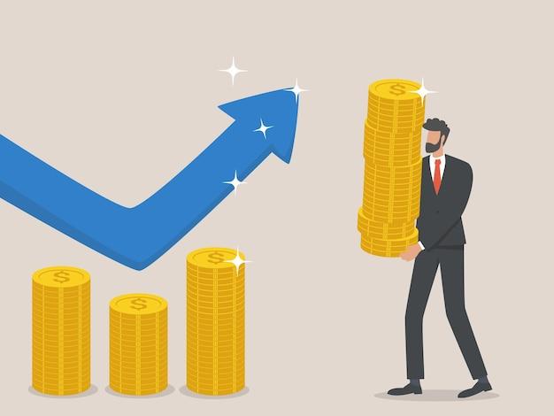 Geschäftsmann erhöhen das budget, das konzept der erhöhung der finanzen