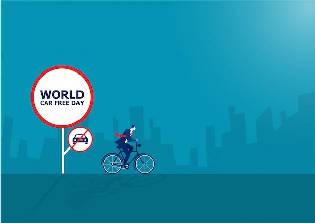 Geschäftsmann fahren fahrrad mit weltautofreiheits-tagesvektorillustration.