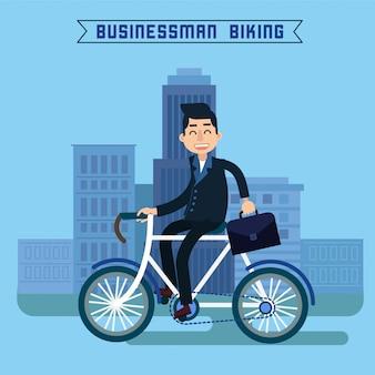 Geschäftsmann, fahrrad fahren
