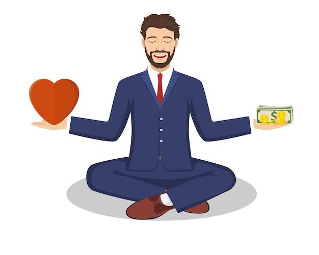 Geschäftsmann fand sein gleichgewicht mit liebe und geld. geschäftsmann, der in lotus-asana in zen-frieden und geistiger ruhe sitzt und achtsam meditiert. vektorillustration im flachen stil
