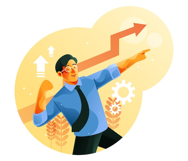 Geschäftsmann feiern seine wachstumsfinanzierungsgrafik