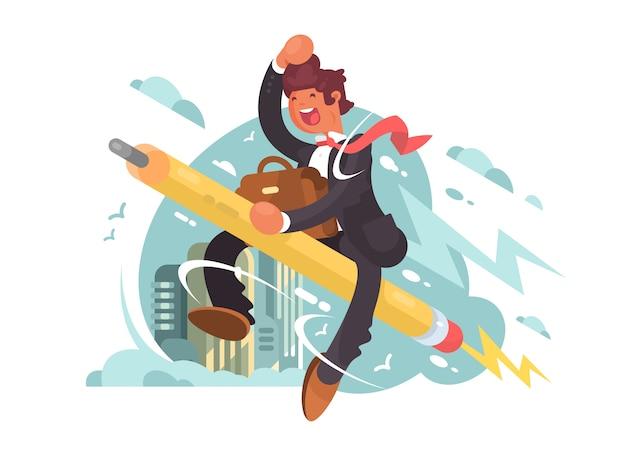 Geschäftsmann fliegen auf bleistift. kreativer anspruch und inspiration. illustration
