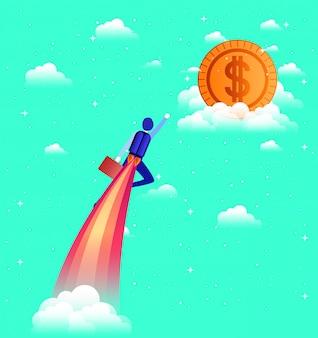Geschäftsmann fliegen in rakete starten