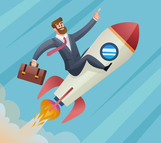 Geschäftsmann fliegt auf raketenstartkonzept