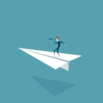 Geschäftsmann flying on paper plane looking durch binokulares auf erfolgreichem zukünftigem wachstums-entwicklungs-konzept