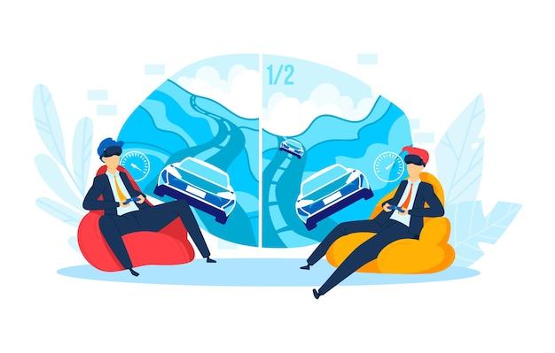 Geschäftsmann freizeit im büro, illustration. manncharakter spielen vr spiel, zeichentrickfilmunterhaltung am arbeitshintergrund. spaß job entspannen, computer-videospiel für erwachsene arbeiter konzept.
