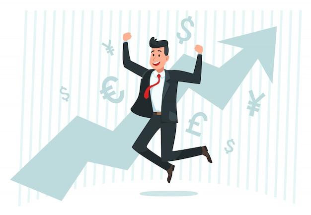 Geschäftsmann freut sich über wachstum. erfolgreiches finanzgeschäft, wachsendes einkommen und pfeil-diagrammgraph-vektorillustration