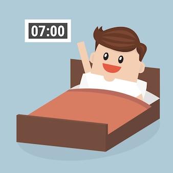 Geschäftsmann früh aufstehen