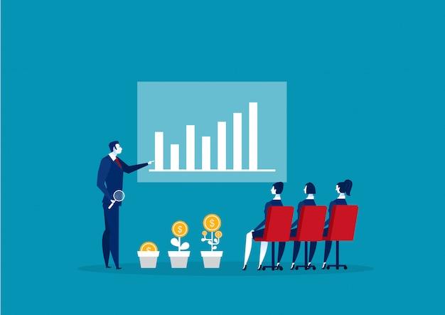 Geschäftsmann führt schulungskurs über arbeitsgruppe und frau durch.