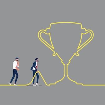 Geschäftsmann gehen richtung zu einem erfolgreichen weg