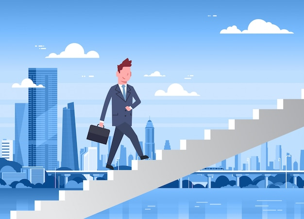 Geschäftsmann-gehende treppe oben über modernem stadtillustration geschäftsmann career development concept