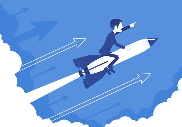 Geschäftsmann geht hoch zum erfolg auf rakete. leader, der das unternehmen an die spitze bringt, profitable strategie für die entwicklung in die richtige richtung. geschäftsmotivation konzept.