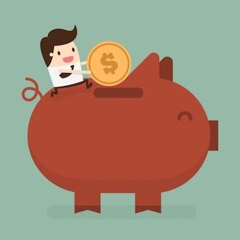 Geschäftsmann, geld zu sparen