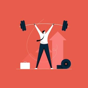 Geschäftsmann gewichtheben, einfache und erfolgreiche bewältigung von hürden