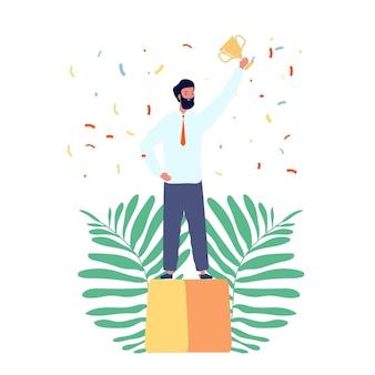 Geschäftsmann gewinner. isolierter mann auf sockel mit goldener tasse und konfetti