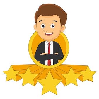 Geschäftsmann gibt fünf sterne für die bewertung