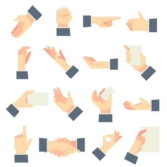 Geschäftsmann gibt gesten. richtungsweisende hand, die eine handvoll geste gibt und in männlichen händen karikaturillustrationssatz hält