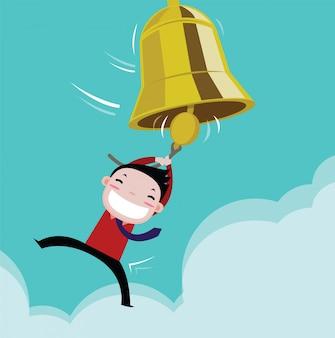 Geschäftsmann glücklich mit dem erfolg der glocke. vektor-cartoon