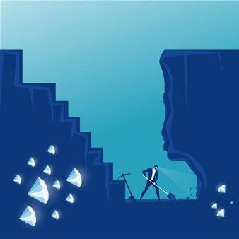 Geschäftsmann graben die erde auf der suche nach versteckten diamanten. illustration