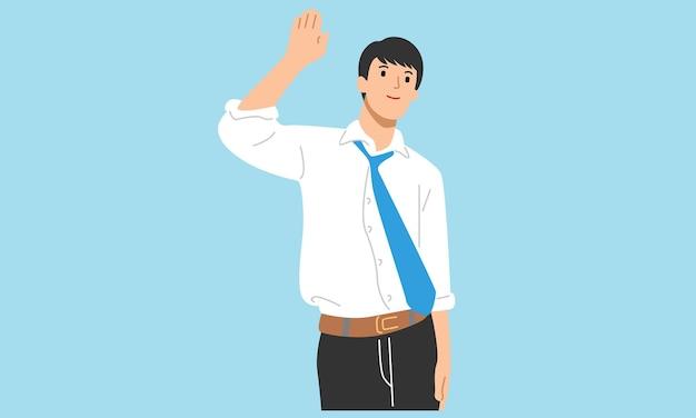Geschäftsmann grüßt jemanden mit erhobener hand