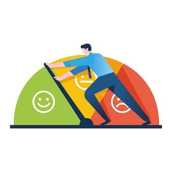 Geschäftsmann hält die skala der emotionen von der annäherung an stress