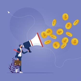 Geschäftsmann hält ein megaphon und schreit und goldmünzen fliegen aus dem megaphon heraus