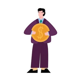 Geschäftsmann hält geld für crowdfunding-investitionen in idee oder projekt