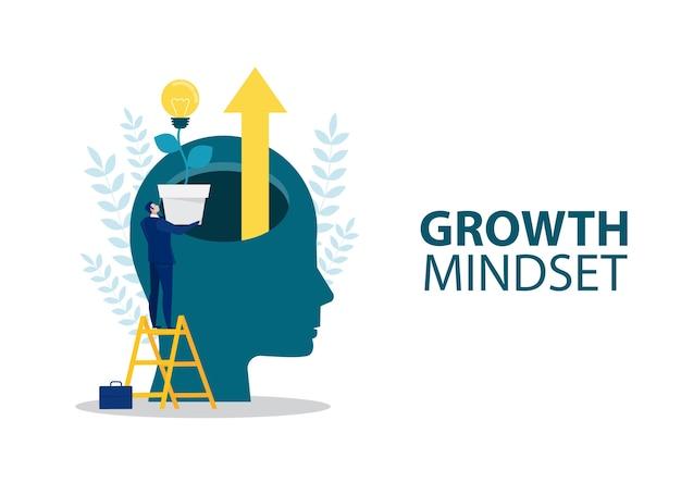 Geschäftsmann hält glühbirne für put think growth mindset anderes festes mindset-konzept